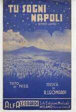 SPARTITI 1941 TU SOGNI NAPOLI Nisa/Leonardi Mandolino/Canto/Fisarmonica