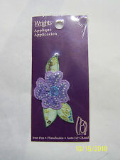 Applique- Iron On - Purple Pansy w/ Green leaves
