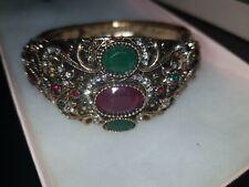 RETRO JEWELLED BANGLE enamel BLACK&GOLD rhinestone crystal RED GREEN snap close