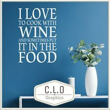 """Kitchen Quote Wall Sticker Vinyl Transfer """"Cook With Wine."""" Decor Art Decal Uk"""