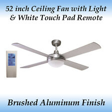 Fias Genesis 52 inch Silver Ceiling fan with Light and White Touch Pad Remote