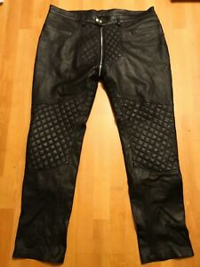 Mens Black Leather Quilted Jeans Trousers - Size 40 - Gay BLUF Interest