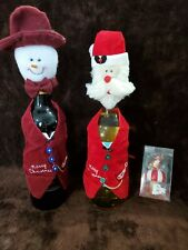 6pc Lot - 2 Christmas Wine Bottle Covers and 1 Pier One Snowglobe Stopper