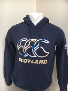 CANTERBURY SCOTLAND HOODIE Mens Small Navy Blue Top Jumper Sweater Sweatshirt