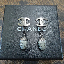 CHANEL Gunmetal Silver CC Logos Acorn Swing Clip Earrings #6537a Rise-on