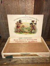 New ListingVintage-Antique Wooden Cigar Box-La Flor de Portuondo Cubans-1901 Tax Stamp