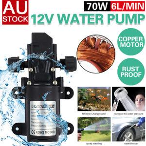 12V 6L/Min High Pressure Micro Diaphragm Water Pump 70W 130Psi Car Caravan Boat