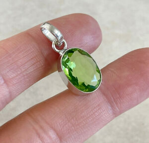 """NATURAL OVAL GREEN PERIDOT 925 STERLING SILVER PENDANT 1"""" NECKLACE CHARM"""