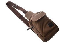 Men's Casual Small Canvas Vintage Shoulder Hiking Crossbody Bicycle Bag Mes J3A4
