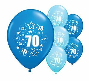 """10 x 70TH BIRTHDAY BLUE MIX 12"""" HELIUM OR AIRFILL BALLOONS (PA)"""