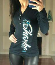 NHL San Jose Sharks Women's L CCM 3 Button Long Sleeve Shirt Black NWT MSRP $55