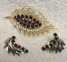 Vintage Ruby Rhinestone Leaf BROACH PIN and Clip EARRINGS Set