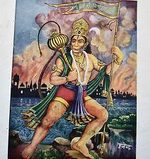 HANUMAN lithographie Inde Originale Ancienne Hindu God 35x50cm