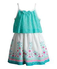 Youngland Aqua & Ivory Geometric Dress Girls' 5