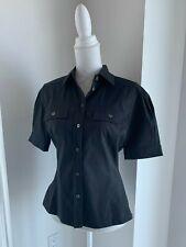 Strenesse Gabriele Strehle Black Cotton Puff Sleeve Camp Shirt SZ 36 6 US S