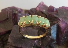 Lucky 5 stone pale sea green jade 14k gold ring vintage size 8 fine 2.3grams