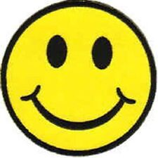 Iron On/ Sew On Embroidered Patch Badge Smiley Face Smiler Smile Happy