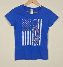 Gildan Mujer Camiseta Estampada Tear Away Manga Corta Algodón Azul TALLA S