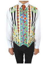 VERSACE New Mens Vtg Rare Unique Cotton Baroque Print Vest Waistcoat sz 54 XXL