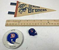 Vintage Denver Broncos Mini Pennant, Gatorade Lid, & Helmet Push Pin