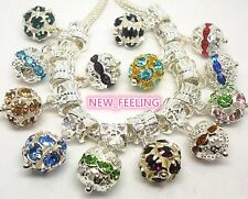 100PCS Round mixed Rhinestone Ball Charm Fit European Bracelet DIY Jewllery Gift