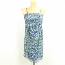 ESPRIT Kleid Neckholder Sommerkleid Paisley Blau Bunt Gr. DE 32 XXS  (BG77)