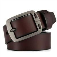 Retro Mens Black Brown Leather Belt Metal Pin Buckle Waistband Strap Waist Charm