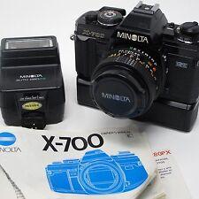 Minolta X-700 Film 35mm Camera, Minolta MD 50mm F/1.7 Lens, Extras, Tested