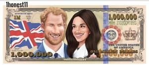1 x ROYAL HARRY MEGHAN $1 Million Dollar Note Novelty Money Gospel Tract USA