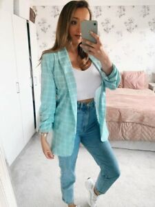 Ladies Checked Mint Green Pastel Blazer Casual Slim Suit Jacket