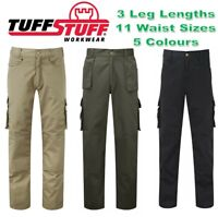 TUFFSTUFF Pro Work Mens Cargo TROUSERS Polyester Cotton Triple Stitched QUALITY