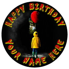 "IT PENNYWISE SCARY HALLOWEEN - 7.5"" PERSONALISED ROUND EDIBLE ICING CAKE TOPPER"