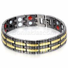 "Men's 15mm Wide Heavy Black Gold Tone Stainless Steel Bracelet Chain Bangle 8.6"""