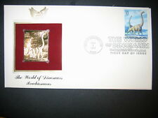 1997 The World Of Dinosaurs Brachiosaurus 22kt Gold Golden Cover replica Stamp