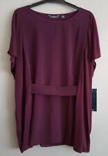 BNWT Ladies Sz 22 NNT Brand Purple Waist Belt Top Short Sleeve Shirt
