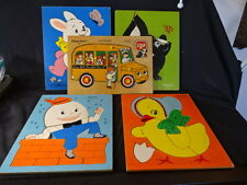 Old Vtg Fisher-Price Playskool Wood Puzzle LOT School Bus Humpty Dumpty Rabbit