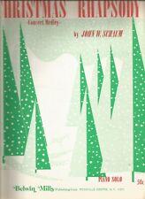 Christmas Rhapsody Concert Medley Piano Solo John W Schaum Sheet Music 1954