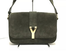 Authentic Yves Saint Laurent Cabas Chyc Green Suede Shoulder Bag