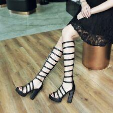 Womens Hollowed Open Toe Knee High Boots Sandals Platform High Heels Shoes Sz