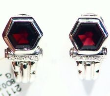Vintage 14K Solid White Gold Natural Garnet Diamond Engagement Earrings Designer