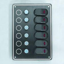 MARINE BOAT BLACK 6 GANG SPLASHPROOF SWITCH PANEL W/ LED ODM RV 12V IP65 CABLED