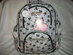 Minnie Mouse Nylon Diaper Bag Backpack Pad, Pouch, & Glitter Keychain *4 PC Set*