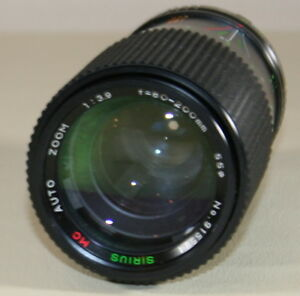 Sirius 80-200 mm f/ 3.9 MC Auto Zoom Lens  see  photos for mounting