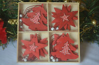 12 wooden red white shabby chic christmas decorations tree star heart snowflakes