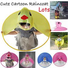 Cute Cartoon Duck Children Raincoat Hands Free Umbrella Kids Girls Rain Hat AU