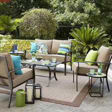 BRAND NEW Garden Oasis Harrison 4-Piece Glass-Top Outdoor Seating Set