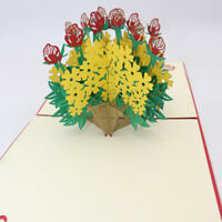 3D Flower Basket DIY Three-Dimensional Paper-Cut Greeting Card Anniversary
