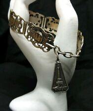 ** Vintage French Silver Filigrane Depose Paris Souvenir Adjustable Bracelet **