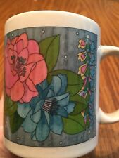 Gibson Housewares Floral Mug Coffee Tea Hibiscus Pink Blue Flower Microwave Safe