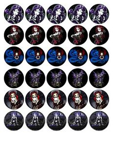30x 4cm QUALITY GOTHIC FAIRIES FAIRY EDIBLE WAFER/RICE PAPER CUP CAKE TOPPERS